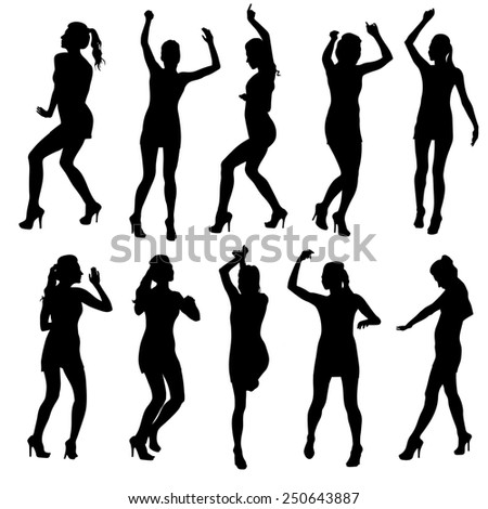 Beautiful women dancing silhouette isolated. Raster version - stock photo