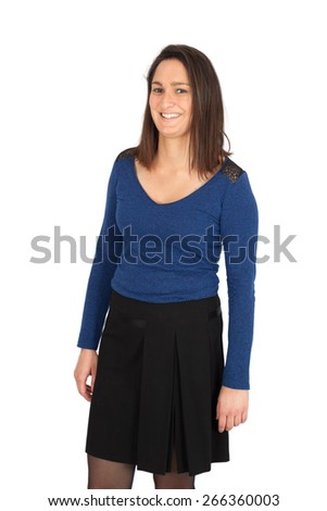 Beautiful women doing different expressions in different sets of clothes: joy - stock photo