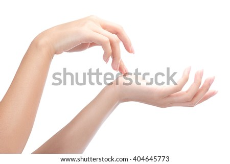 Beautiful women hands, applying cream, massaging, isolated on a white with clipping path. - stock photo