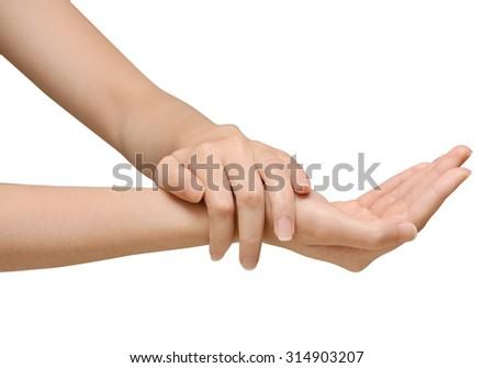 Beautiful women hands isolate, applying cream, massaging - stock photo