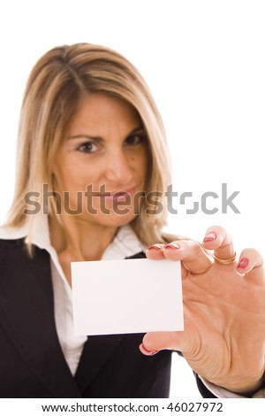 Beautiful women holding her business card - stock photo