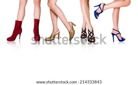 Beautiful women legs with shoes and dress. Fashion styles. Isolated on white.  - stock photo