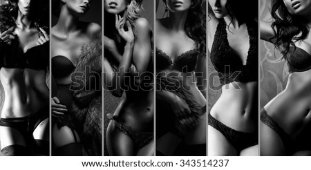 Beautiful women posing in underwear. Black and white lingerie collage. - stock photo