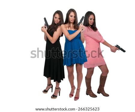 Beautiful women with loaded handgun pistols - stock photo