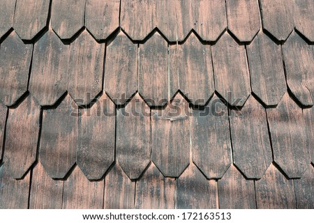 Beautiful wood shingles of traditional houses on Chiloe Island in Chile - stock photo