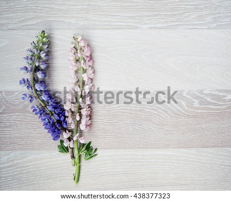 Beautiful wooden background framed with two flowers - stock photo
