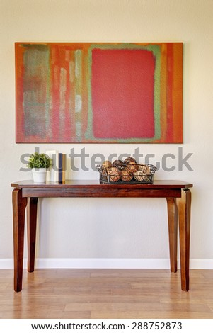 Beautiful wooden table with decor. - stock photo