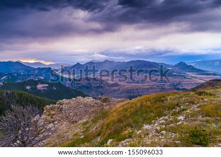Beautiful Wyoming Landscape with Dramatic Stormy Sky - stock photo