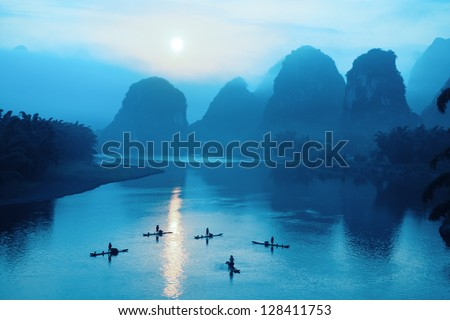 beautiful yangshuo scenery in sunrise,China - stock photo