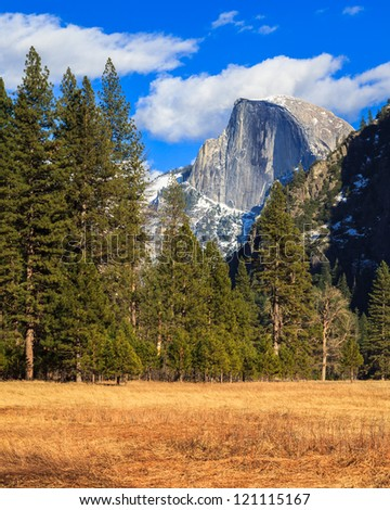 Beautiful Yosemite Valley with Half Dome in the distance. - stock photo