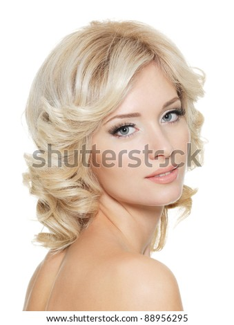 Beautiful young adult pretty woman - isolated - stock photo