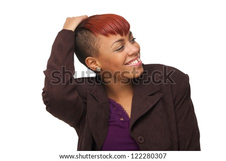 Beautiful young African American woman smiling and holding her hand to her head. She is looking away and isolated on white background - stock photo