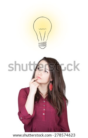 Beautiful young and pretty woman thinking (have no idea) in front of light idea bulb concept - isolated on white background - stock photo