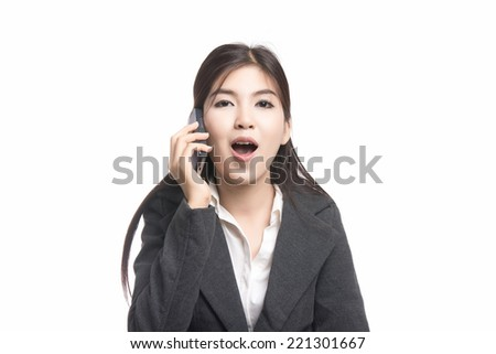 Beautiful young asian businesswoman, portrait of  Young Adult Female Talking on Phone,Positive emotions,woman having great stimulating discussion with someone, good news, isolated on white background. - stock photo