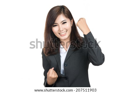 Beautiful young asian businesswoman,Thai girl.Closeup portrait of woman successful smiling woman, Positive human emotions,facial expressions,feeling,signs,symbol,shot isolated on white background. - stock photo