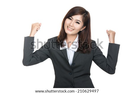 Beautiful young asian businesswoman,Thai girl.Closeup portrait of woman successful smiling woman, Positive human emotions,facial expressions,feeling ,signs,symbol,shot isolated on white background. - stock photo
