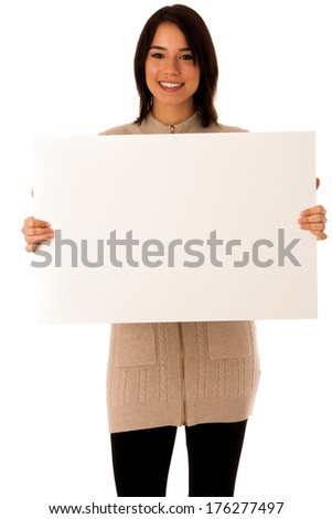 Beautiful young asian caucasian woman with whiteboard isolated over white background - stock photo