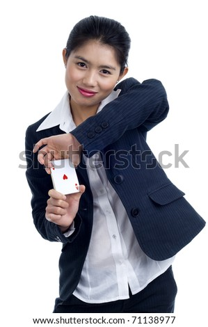 beautiful young asian woman an ace in her hands, isolated on white - stock photo
