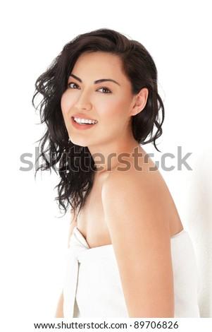 Beautiful young asian woman in white towel - stock photo