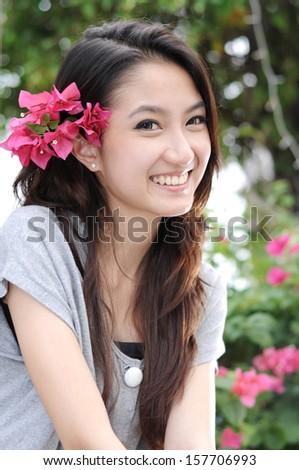 Beautiful Young Asian Woman,Portrait. - stock photo