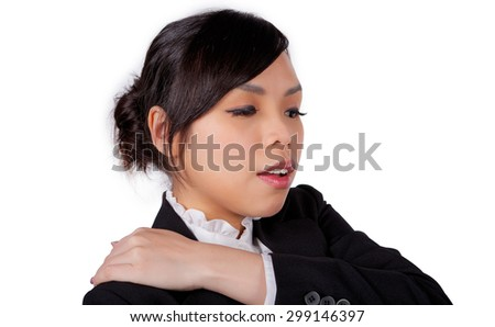 Beautiful young asian woman who gets tired on white isolated background - stock photo