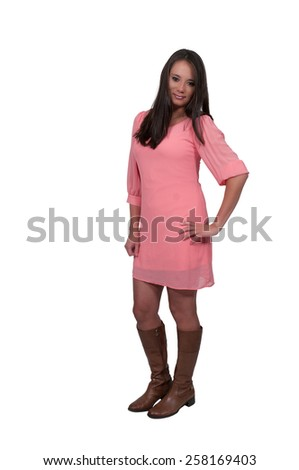 Beautiful young attractive hispanic woman modeling a pose - stock photo