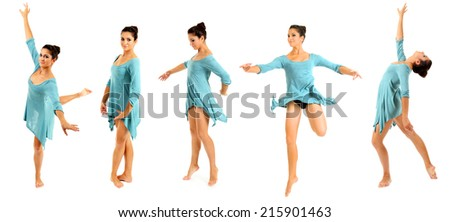 Beautiful young ballerina in blue dress isolated on white - stock photo