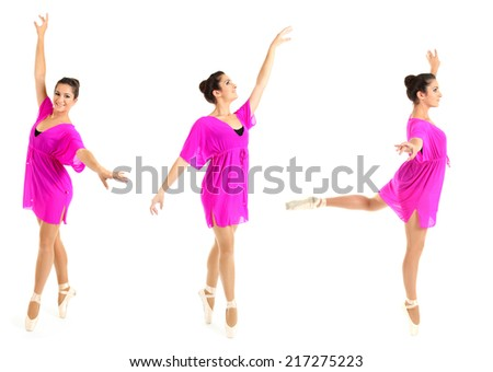 Beautiful young ballerina in pink dress isolated on white - stock photo