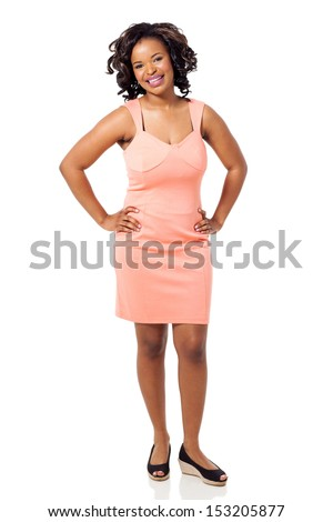 beautiful young black woman in a dress isolated on white - stock photo
