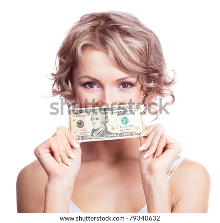 beautiful young blond woman with a ten dollars banknote, isolated against white background - stock photo