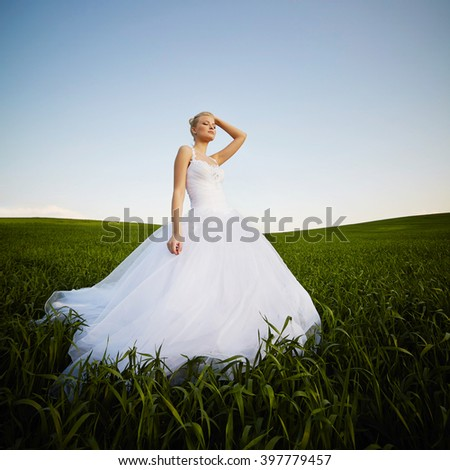 beautiful young blonde bride - stock photo