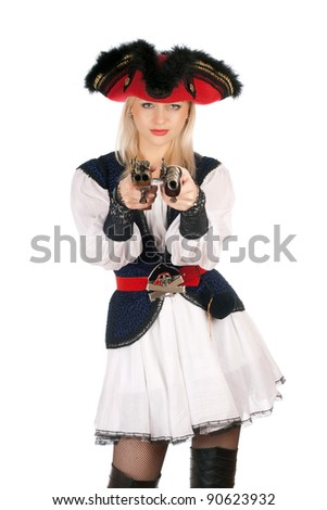 Beautiful young blonde with guns dressed as pirates - stock photo