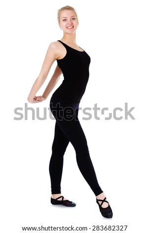 Beautiful young blonde woman gymnast training stretching exercise, isolated on white background - stock photo