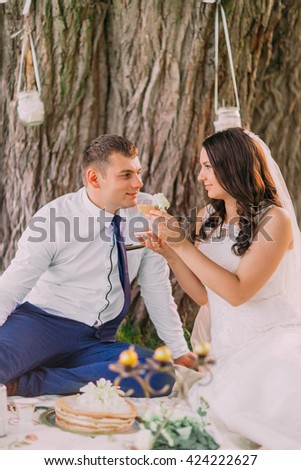 Beautiful young bride feeding wedding cake to groom outdoors  on the outdoor picnic - stock photo