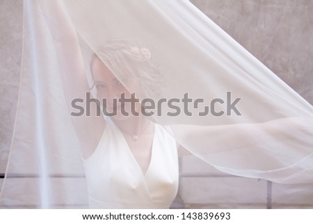 Beautiful young bride holding veil - stock photo