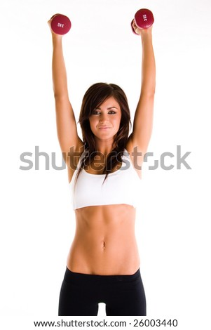 beautiful young brunette girl working out - stock photo