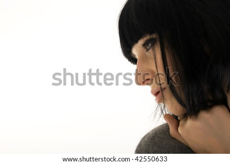 Beautiful young brunette woman business style - stock photo