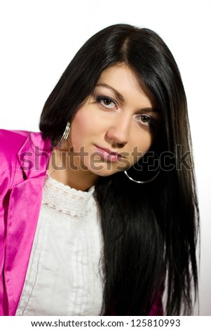 Beautiful young brunette woman with long straight hair isolated on white background - stock photo