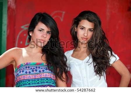 Beautiful Young Brunettes in a Fashion Pose - stock photo