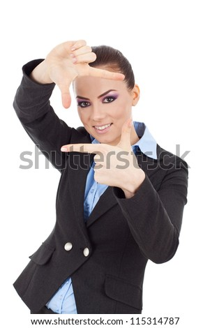 Beautiful young business woman creating a frame with her fingers and smiling through it. isolated on white. - stock photo