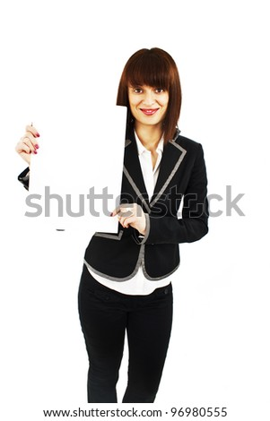 Beautiful young business woman is holding blank whiteboard sign. Isolated on white background. - stock photo