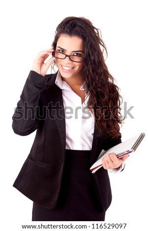 Beautiful young business woman posing isolated over white - stock photo