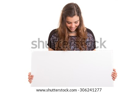 Beautiful young business woman presenting your product on a white card - stock photo