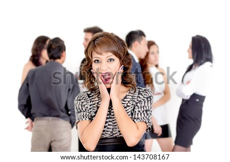 Beautiful young business women surprised in a group - stock photo