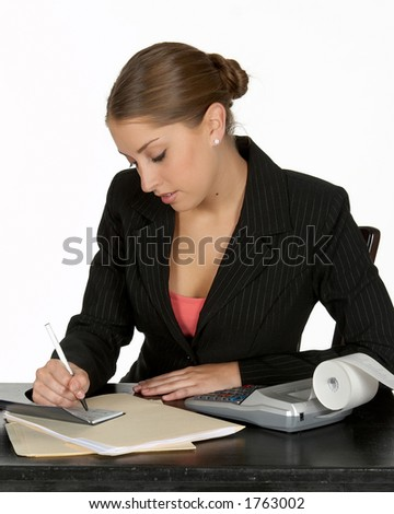 Beautiful Young Business Writing Check - stock photo