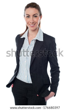 Beautiful young businesswoman with confident smile - stock photo