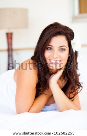 beautiful young caucasian bride closeup portrait - stock photo