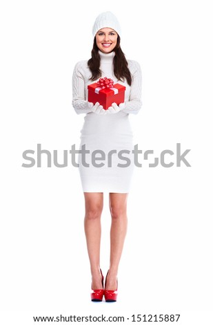 Beautiful young Christmas girl with a present isolated on white background. - stock photo