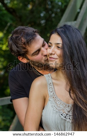 beautiful young couple in love - stock photo