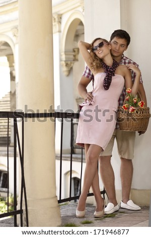 Beautiful young couple in love - very romantic - stock photo